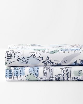 Cityscape Cotton Jersey-Knit Sheets