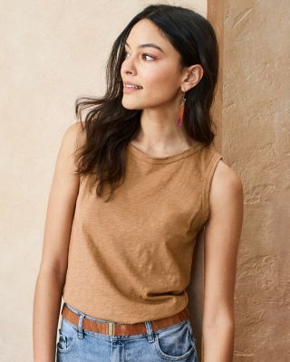 Velvet by Graham and Spencer Slubbed-Cotton Knit Tank Top