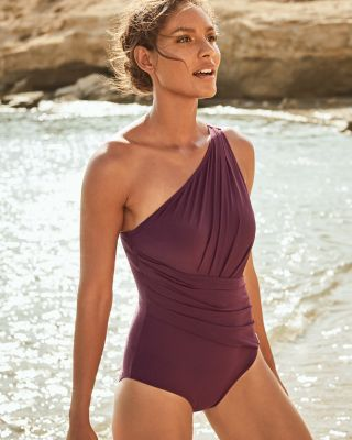 Michael Kors Urban Gypsy One-Shoulder One-Piece Swimsuit