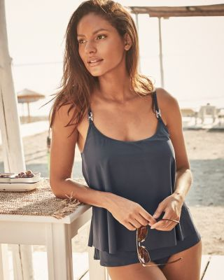 Michael Kors Radiant Chain Layered Tankini Swimsuit