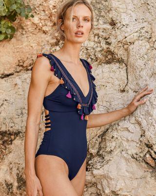 OndadeMar Embellished-Ruffle One-Piece Swimsuit