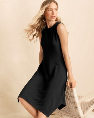 High-Neck Sleeveless French Terry Dress