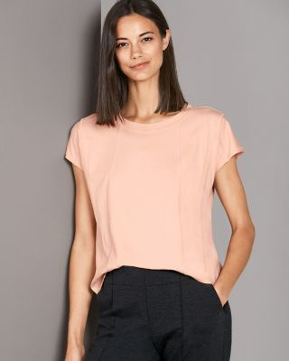 Seamed Cap-Sleeve Tee Shirt