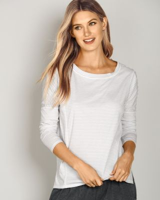 Seamed Boatneck Long-Sleeve Top