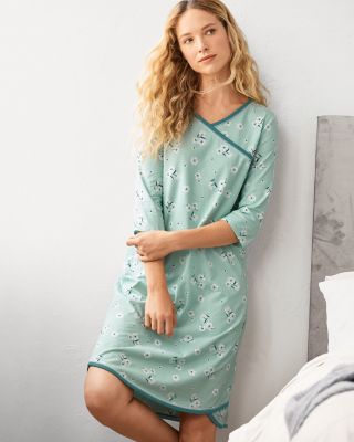 Asian Wrap Organic-Cotton Nightgown
