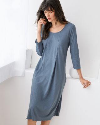 EILEEN FISHER Organic-Cotton Pleat-Detail Gown
