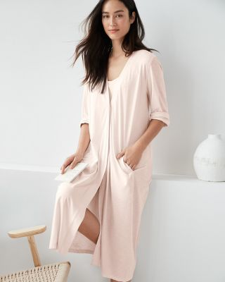 EILEEN FISHER Organic-Cotton Pleat-Detail Robe