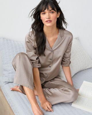 EILEEN FISHER Textured-Silk Classic Pajamas