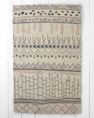 Undyed-Wool Hooked Rug