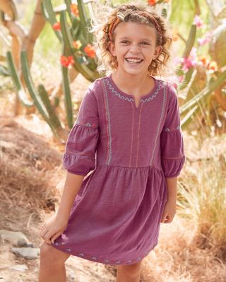 Girls' Organic-Cotton Boho Knit Dress