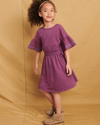 Girls' Organic-Cotton Butterfly-Sleeve Dress