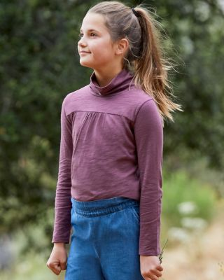 Girls' Organic-Cotton Ruched-Front Turtleneck Top