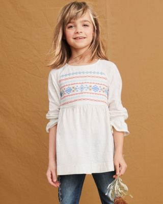 Girls' Ruffle-Sleeve Embroidered Tunic Top
