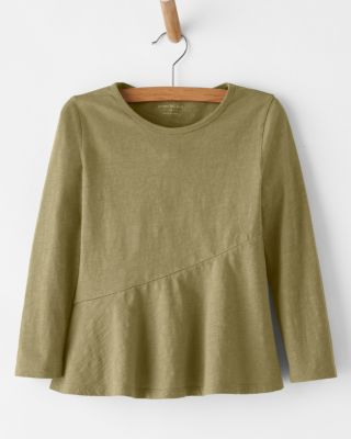 Girls' Organic-Cotton Peplum Knit Top