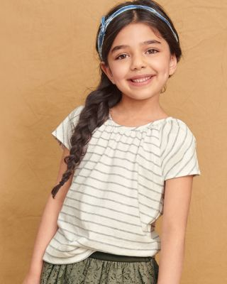 Girls' Organic-Cotton Gathered-Neck Tee Shirt