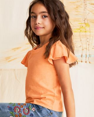 Girls' Organic-Cotton Flounce-Sleeve Knit Top