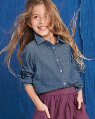 Girls' Relaxed Woven Cotton Shirt
