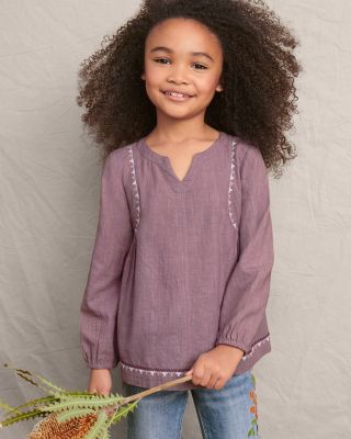 Girls' Waverly Slubbed Cotton Long-Sleeve Top