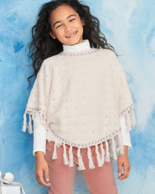 Girls' Organic-Cotton Fringe Poncho