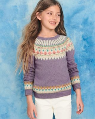 Girls' Cotton & Merino Artful Sweater