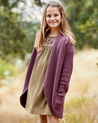 Girls' Organic-Cotton Long Cocoon Cardigan Sweater