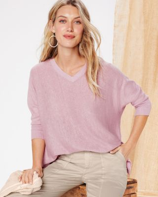 Organic-Linen Boxy V-Neck Sweater