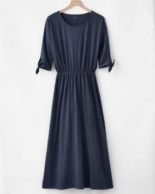 Tie-Sleeve Blouson Midi Dress