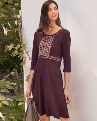Embroidered-Bodice Knit Dress