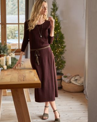 Long-Sleeve Midi Sweater Dress