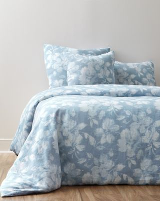 Linnea Floral Relaxed-Linen Duvet Cover