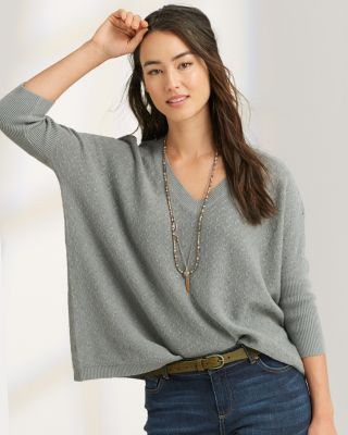 Boxy Texture-Stitch Linen & Cotton Pullover Sweater