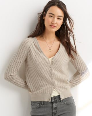 Pointelle Linen & Organic Cotton Cardigan Sweater