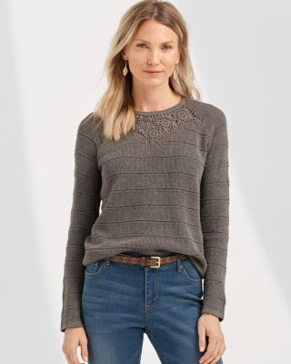 Crochet-Inset Linen & Organic Cotton Crewneck Sweater