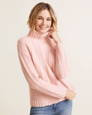 Cashmere Chunky Textured Turtleneck Sweater