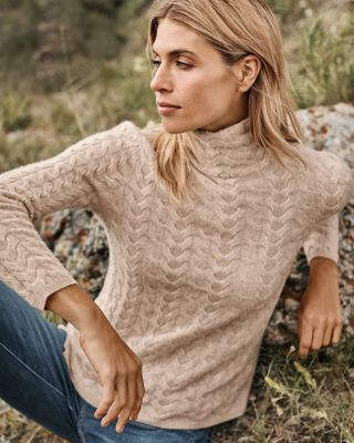 Cashmere Cabled T-Neck Sweater