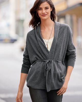 Cashmere Tie-Waist Cardigan Sweater With Self Belt