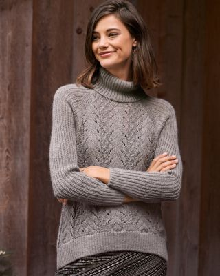 Alpaca Mixed-Stitch Turtleneck Sweater