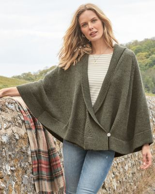 Alpaca Shawl Collar Sweater Cape