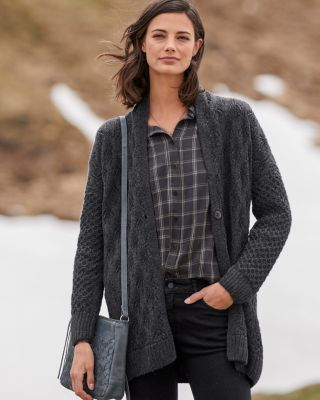 Alpaca Mixed-Stitch Long Cardigan Sweater