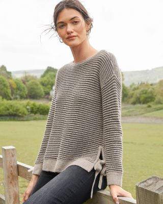 Side-Tie Alpaca Pullover Sweater