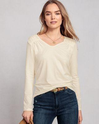 Smock-Detail Tee Shirt