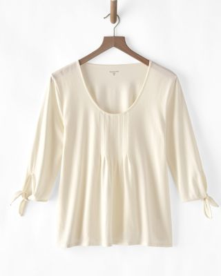 Pleated Tie-Sleeve Knit Blouse