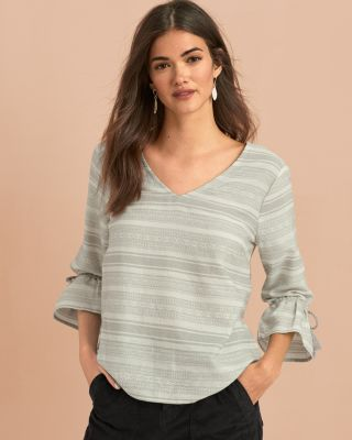 Ruffle-Sleeve Jacquard Organic Cotton Blouse