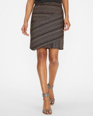 Short Seamed Cotton Jacquard Skirt