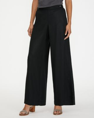 Button-Detail Wide-Leg Trousers