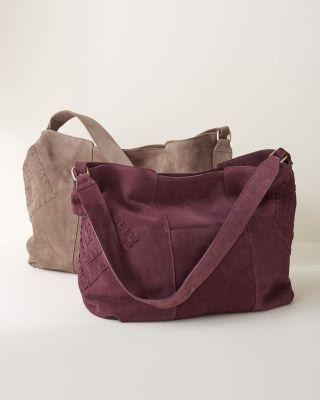 Caroline Whipstitch Italian Suede Tote Bag