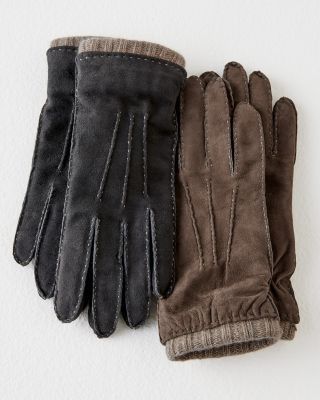 Italian Cashmere-Lined Suede Gloves