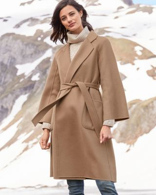 Belted Unlined Women's Wool Coat