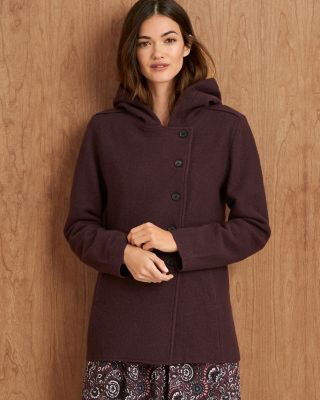 Women's Boiled-Wool Hooded Jacket