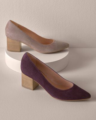 Anna Pointed-Toe Suede Block-Heel Shoes